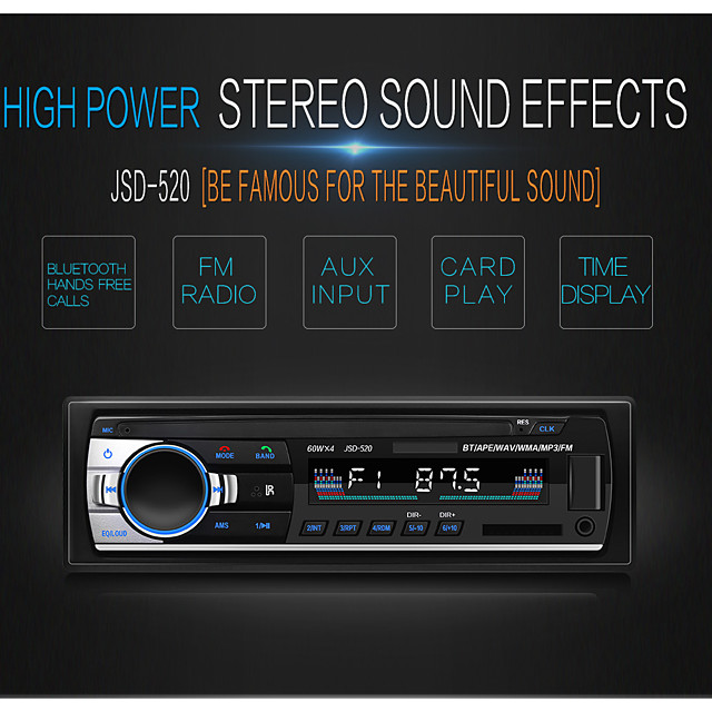 1Din JSD-520B Car Multimedia Player Bluetooth Autoradio MP3 Music Player Car Stereo Radio FM Aux Input Receiver USB 12V