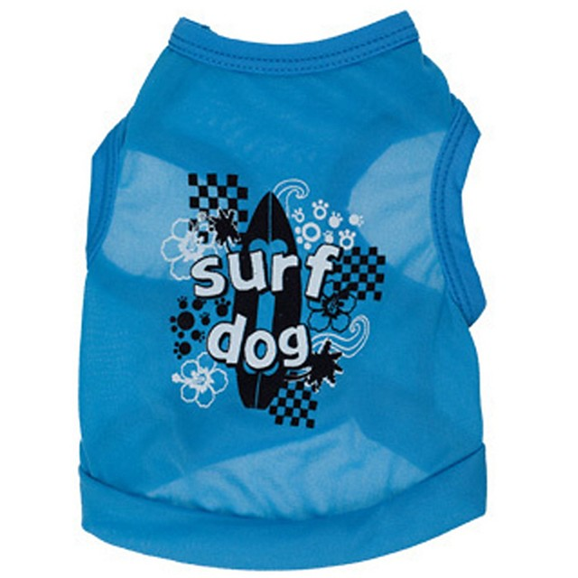 Dog Shirt / T-Shirt Letter & Number Holiday Casual / Daily Dog Clothes Blue Green Costume Terylene XS S M L