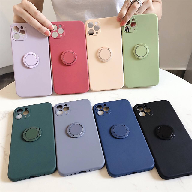 Case For Apple iPhone 12 / iPhone 12 Mini / iPhone 12 Pro Max Shockproof / Ring Holder Back Cover Solid Colored Silicone