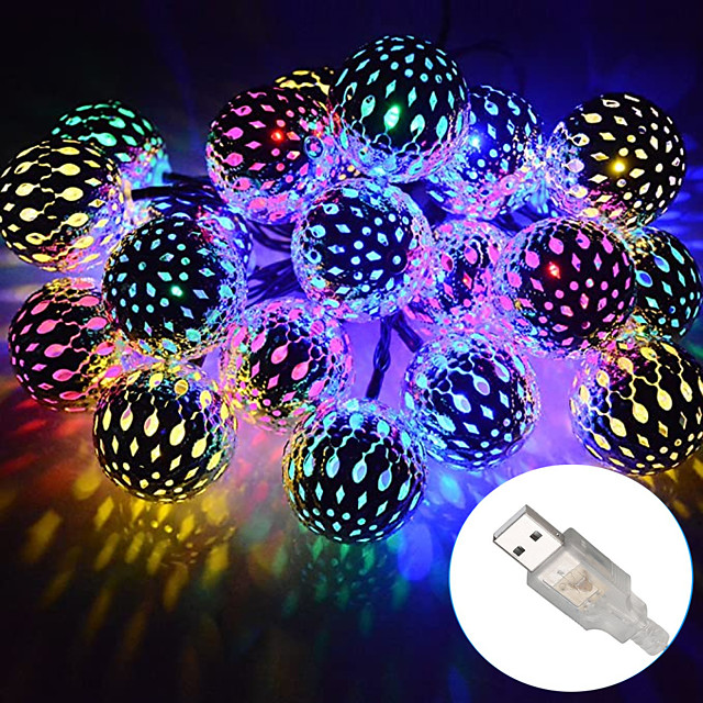 Outdoor Christmas Lights Strand Metal Moroccan Lighting 10-50 LEDs Waterproof Rope Lights AA Battery Box or USB Powered String Lights  for Garden Wedding PartyIndoor Christmas DC5V