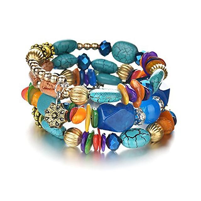 boho multilayer irregular agate beads charm bracelets for women vintage jade stone man bracelets yoga bangles ethnic jewelry (colorful)