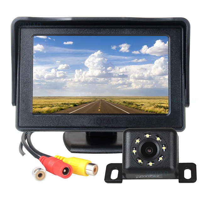ZIQIAO 4.3 Inch TFT LCD Screen Car Monitor Auxiliary Parking  8 LED Light Night Vision Rear View Camera