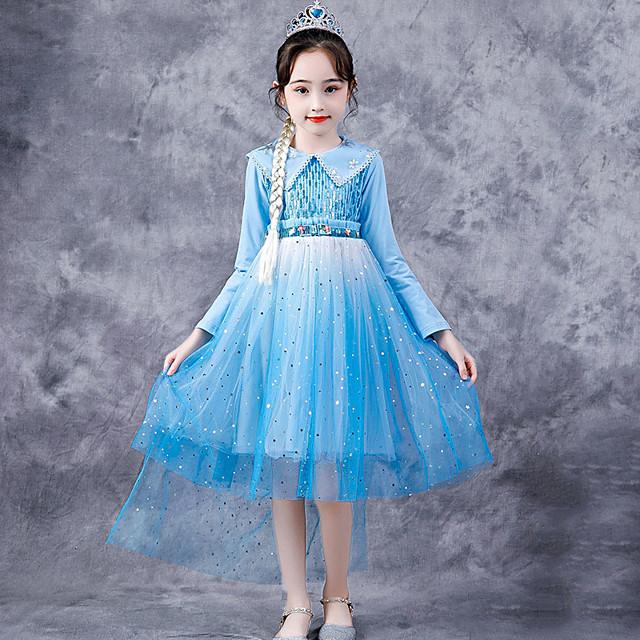 Princess Cosplay Costume Masquerade Girls' Movie Cosplay A-Line Slip Halloween Blue Dress Halloween Children's Day Masquerade Polyester Organza