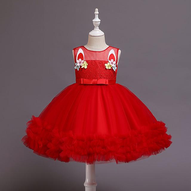 Princess Unicorn Dress Girls' Movie Cosplay Lace Sweet Red Christmas Halloween