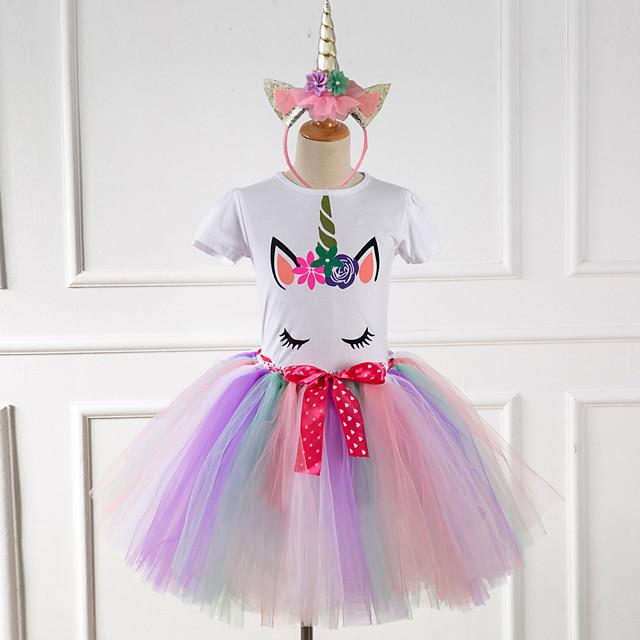 Princess Unicorn Dress Girls' Movie Cosplay Sweet White / Yellow / Pink Hair Jewelry Dress Halloween