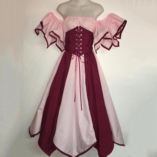 Lady Outlander Retro Vintage Medieval Dress Masquerade Prom Dress Women's Costume Blushing Pink / Dark Green / Blue Vintage Cosplay Party Halloween Sleeveless