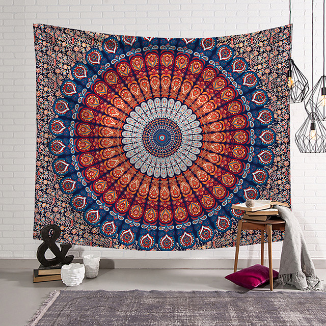 Wall Tapestry Art Decor Blanket Curtain Picnic Tablecloth Hanging Home Bedroom Living Room Dorm Decoration Mandala Bohemian Ethnic Indian Hippie Peacock Psychedelic