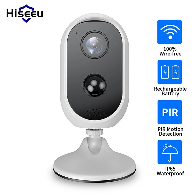 Hiseeu C30 1080P WIFI Battery Camera IP Outdoor Waterproof IP65 Rechargeable Solar Panel Wireless IP Camera PIR Waterproof Motion Detect App View Home Security Camera