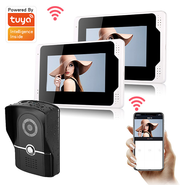 7inch Monitor Video Intercoms Home Security System Video Doorbell Door phone with 1080P HD camera Multi-language support remote control Tuay APP