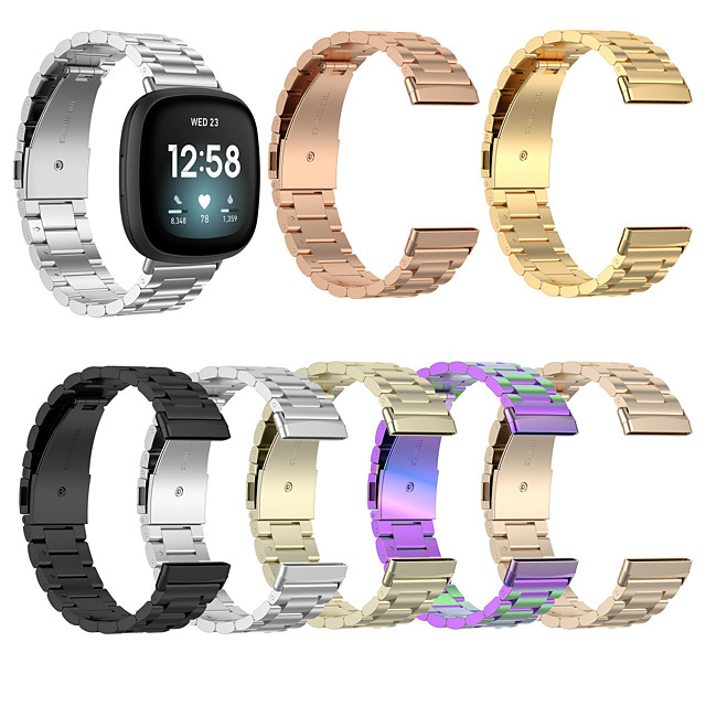 For Fitbit Versa 3 / Fitbit Sense Fitbit Strap Steel Belt Smart Watch Three Beads Steel Belt Replace Smart Strap