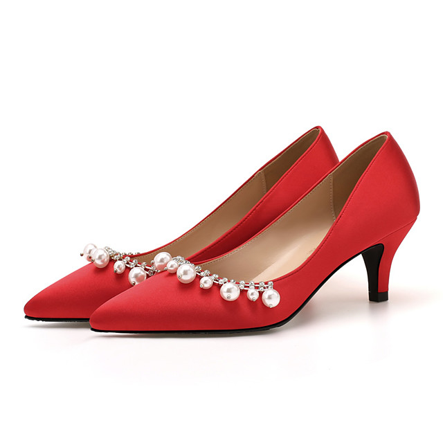 Women's Heels Pumps Pointed Toe Classic Sweet Preppy Daily Party & Evening Satin Rhinestone Pearl Solid Colored Almond White Black / 2-3