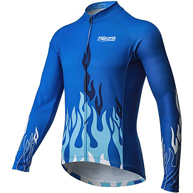 21Grams Men's Long Sleeve Cycling Jersey Winter Polyester Blue Bike Jersey Top Mountain Bike MTB Road Bike Cycling Breathable Warm Quick Dry Sports Clothing Apparel / Stretchy / Athleisure