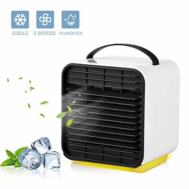 portable air conditioner cooler fan, personal space air cooler, humidifier, purifier 3 in 1 evaporative cooler, oneisall usb rechargeable mini cooling desktop fan with led light, 3 speeds (blue)