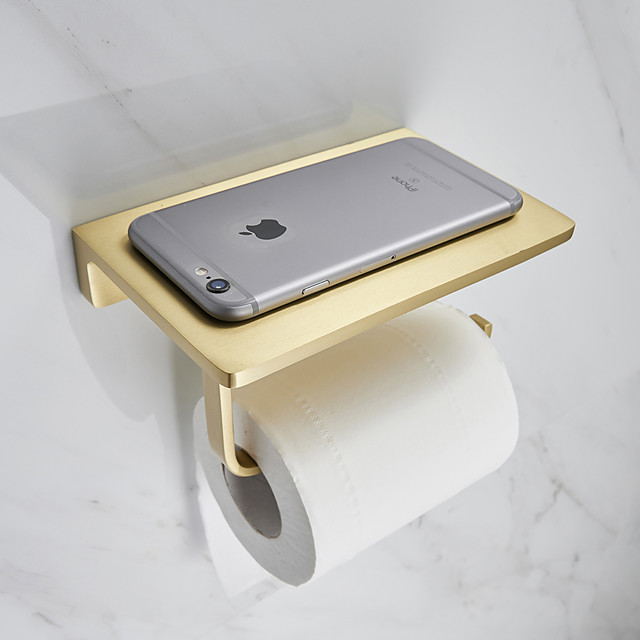Toilet Paper Holder Creative Metal Bathroom Shelf with Mobile Phone Storage Shelf Wall Mounted Brushed Gold 1PC