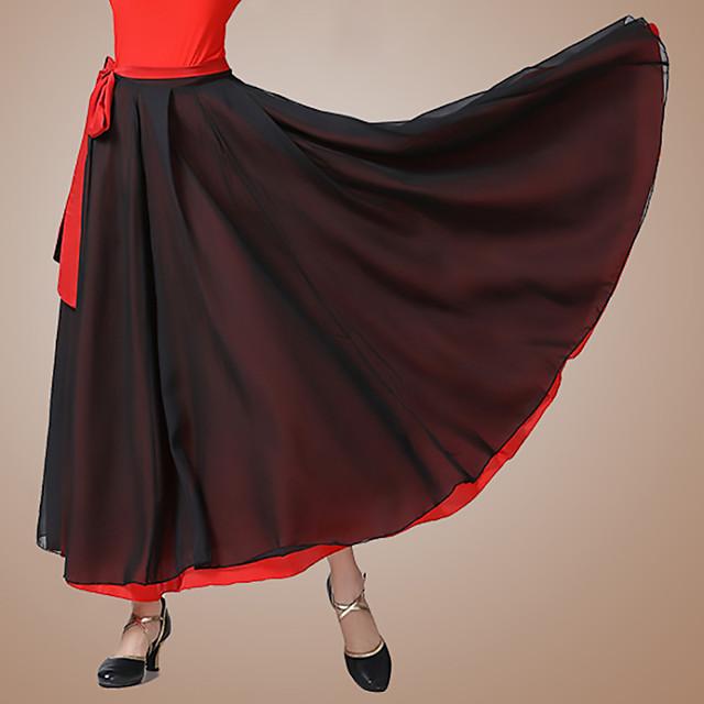 Ballroom Dance Skirts Bandage Women's Performance Daily Wear High Chiffon