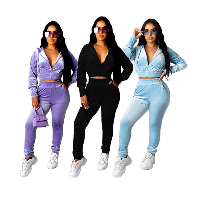 Women's 2 Piece Cropped Tracksuit Sweatsuit Street Athleisure 2pcs Winter Long Sleeve Velour Thermal Warm Breathable Soft Fitness Gym Workout Running Jogging Training Sportswear Solid Colored Normal