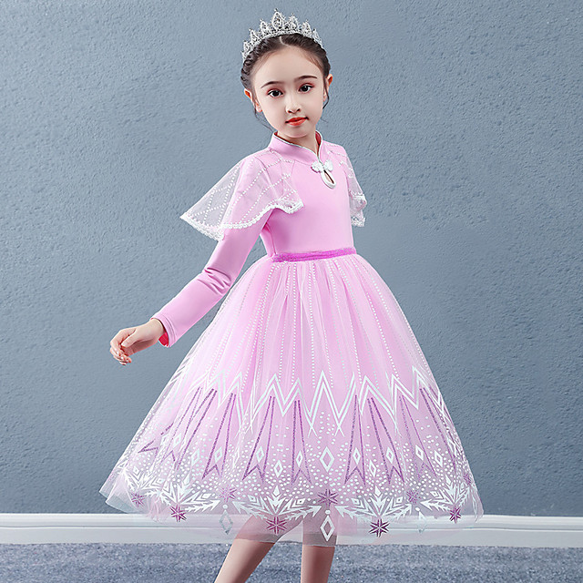Princess Cosplay Costume Masquerade Girls' Movie Cosplay A-Line Slip Vacation Blue / Pink Dress Halloween Children's Day Masquerade Organza Cotton
