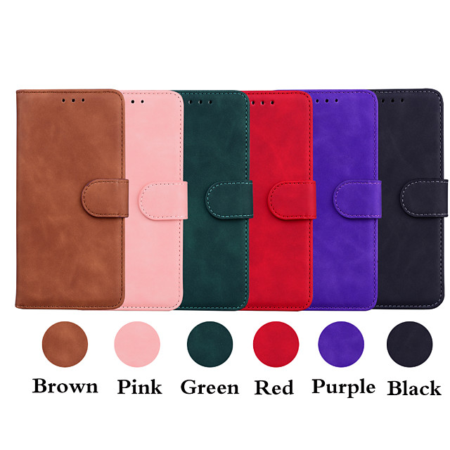 Case For Apple iPhone 12 / iPhone 12 Mini / iPhone 12 Pro Max Wallet / Shockproof / Flip Full Body Cases Solid Colored PU Leather