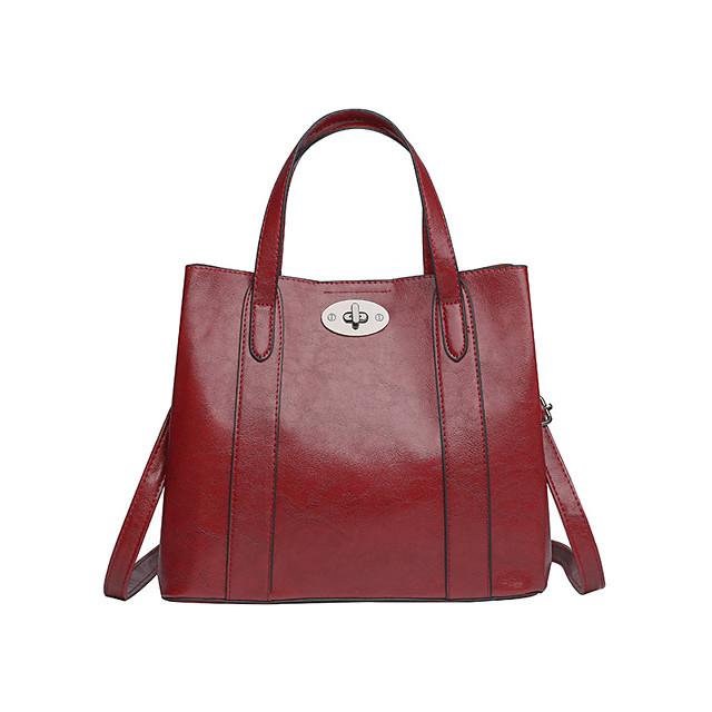 Women's Bags PU Leather Satchel Top Handle Bag Beading Zipper Outdoor Handbags Black Blue Red Brown