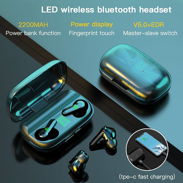 LITBest LX_XT01 Bluetooth Earphones Touch Control 2200mAh Charging Box Wireless Headset the Sports Waterproof Earbuds Headsets with Microphone