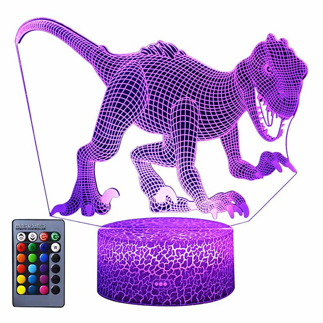 3D Dinosaur Night Light 3D Illusion Lamp 3-Pattern  16 Colors Change Decor Nightlight with Remote Control for Living Bed Room Bar Best Dinosaur Gifts Toys for Boys Girls