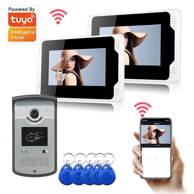 Wired 7'' Monitor WIFI Tuya Smart Video Door Phone Intercom System with 1080P/AHD Camera Doorbell Recording Support iOS/Android Remote Unlock Motion Detect