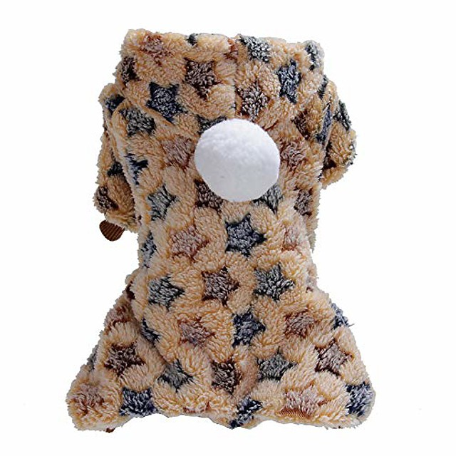 winter pet dog puppy warm dot star print costume soft coat hoodie jacket apparel for dogs puppies easy to wear 1# xs