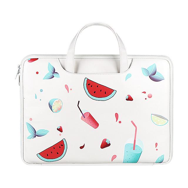 Unisex Waterproof PU Laptop Bag Zipper Floral Print Daily Office & Career White Black Red Milky White
