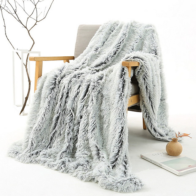 Solid Color Comfort Luxury Faux Fur Throw Blanket - Ultra Soft and Fluffy - Plush Throw Blankets for Couch Bed and Living Room - Fall Winter and Spring