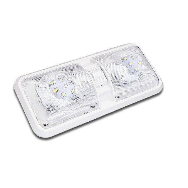 2Pcs 48LED 6.8W 6000K Interior Switch Natural White Ceiling Dome Trailer Light Car Boat Truck