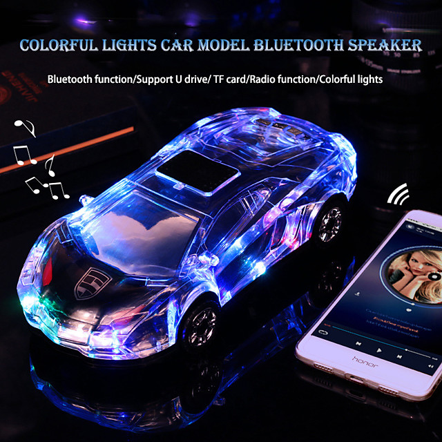 Bluetooth Car Shape Speaker USB TF FM Radio MP3 Music car Player Color light Stereo Speaker Kid Toy Gift Sound Box for PC Phone