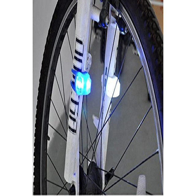 r&j 2 pcs outdoor night / evening cycling camping bike cycling bicycle front rear safety warning led light lamp ,white (white) new year gift