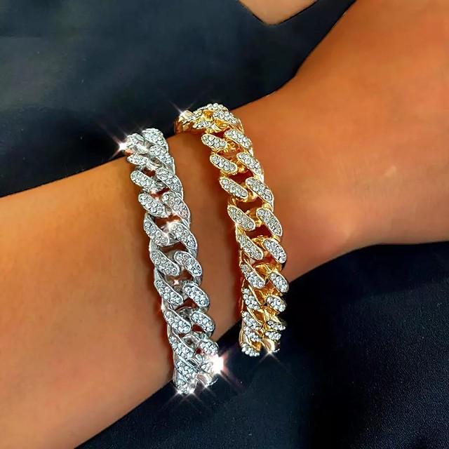 Women's Bracelet Cuban Link Wave Fashion Trendy Alloy Bracelet Jewelry Gold / Silver For Party Evening Birthday