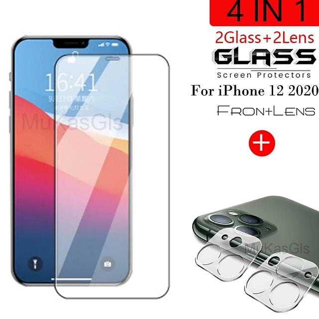 4-in-1 3D Lens  Tempered Glass For iPhnoe 12 12 Max Screen Protector Glass On iPhone 12 Pro Max 11 Pro Max 11 Pro Protective Glass