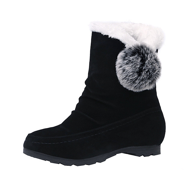 Women's Boots Snow Boots Flat Heel Round Toe Mid Calf Boots Casual Daily Nubuck Pom-pom Solid Colored Black Burgundy Gray / Booties / Ankle Boots / Booties / Ankle Boots