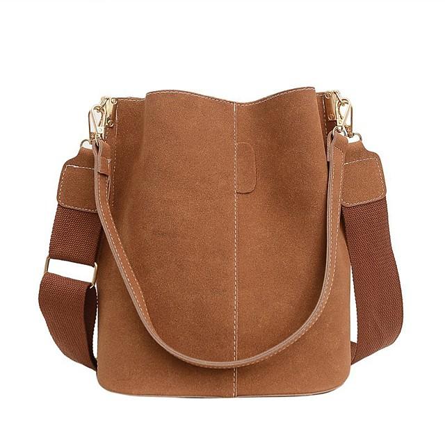 Women's Bags PU Leather Bucket Bag Crossbody Bag Top Handle Bag Solid Color Handbags Daily Black Red Brown Gray