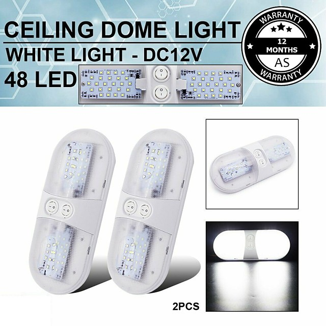 1 Pcs 24 LED 6.8W 6000K Interior Switch Natural White Ceiling Dome Trailer Light Car Boat Truck 2 Colors To Choice