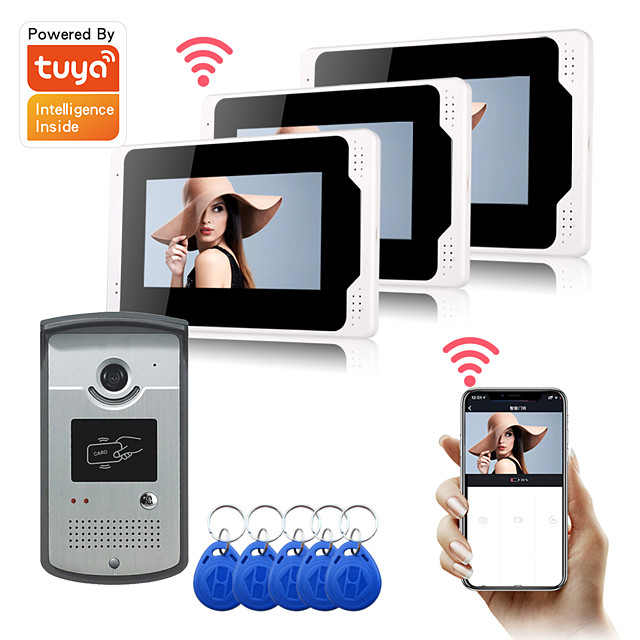 WIFI / Wired Recording 7 inch Monitor Hands-free Video Doorphone Tuya APP Remot Control RFID Unlock 1080P HD Camera with Motion Detect