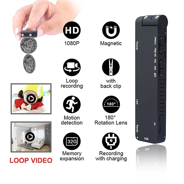 Hd Mini 1080p Camera Night Vision Camera Camera Motion DVR Micro Magnet Camera Recording Video Clip Camera