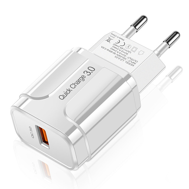 3A Quick Charge 3.0 USB Charger EU Wall Mobile Phone Charger Adapter for iPhone X MAX 7 8 QC3.0 Fast Charging for Samsung Huawei Xiaomi and Others