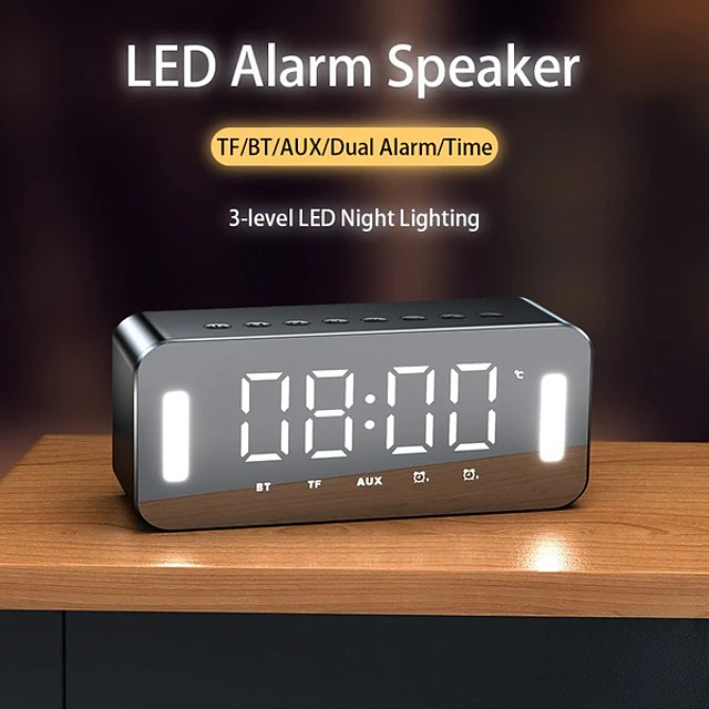 H8 LED Portable Bluetooth Speakers 25W Wireless Stereo Bass Hifi Speaker Support TF Card AUX USB Handsfree Night LED Night Clock