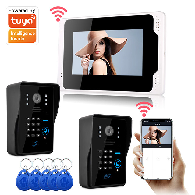 WIFI / Wired Recording Snapshot 7 inch Hands-free Monitor Video Doorphone with 1080P Camera Motion Detector and RFID Password Unlock.