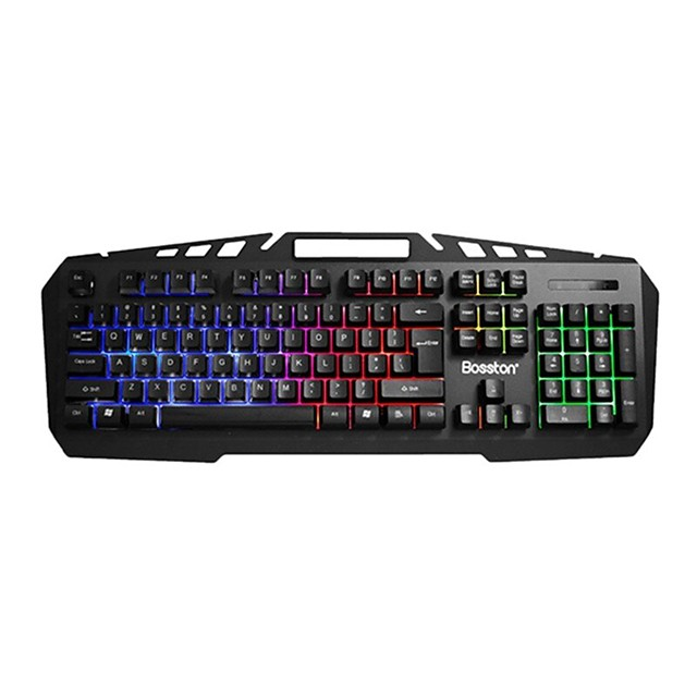 Metal Panel Rainbow Light Mechanical Press Wired Keyboard Is Suitable for Notebook Home Game and Office