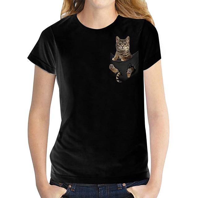 Per donna maglietta Gatto 3D Stampe astratte Con stampe Rotonda Top Essenziale Top basic Bianco Nero