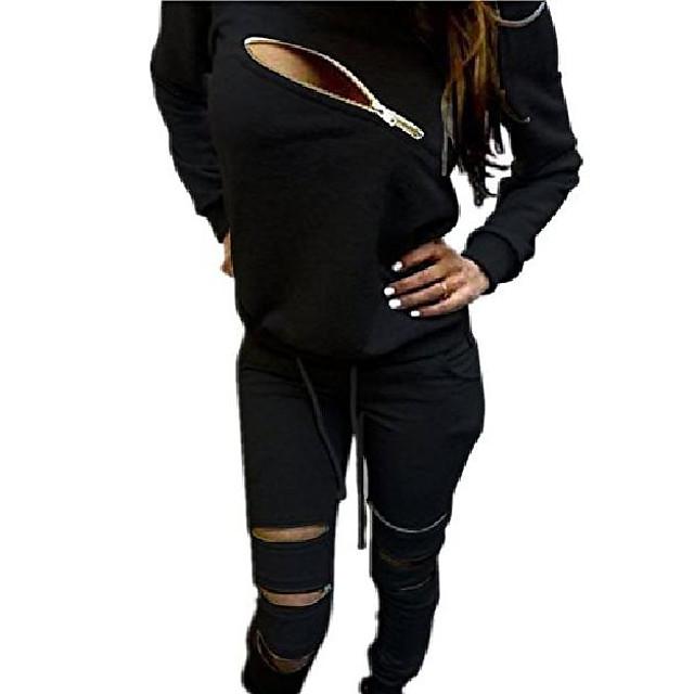 women's 2pcs casual autumn tracksuit front zip long sleeve t-shirt+pants sport wear suit black us 8