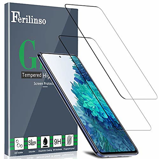 2 Pack For Samsung Galaxy S21Ultra S20fe S21+ S21 PLUS S20 S10 lite Tempered-glass Military Protective Case Friendly Anti-Fingerprint Anti-Scratch no-Bubble Easy Installation For S20plus