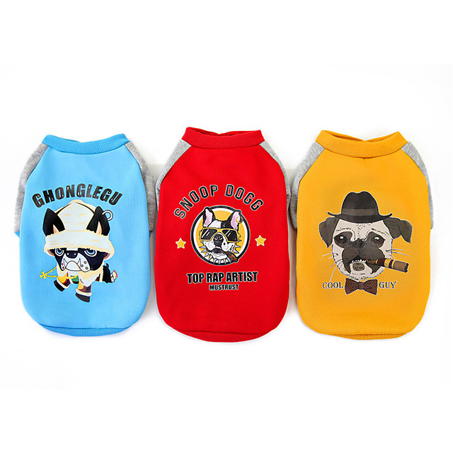 Dog Coat Jacket Bulldog Thick Velvet Cute Casual / Daily Winter Dog Clothes Puppy Clothes Dog Outfits Breathable Yellow Red Blue Costume for Girl and Boy Dog Fleece S M L XL XXL