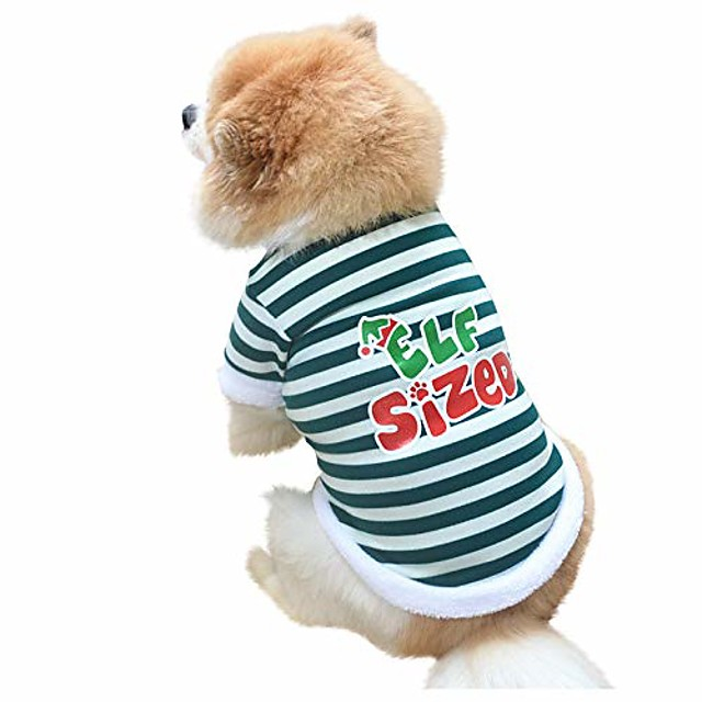 dog christmas costumes soft comfy christmas puppy cat pullover sweatshirt with cute pattern winter warm plush pet clothes for small medium dogs(xs,green)