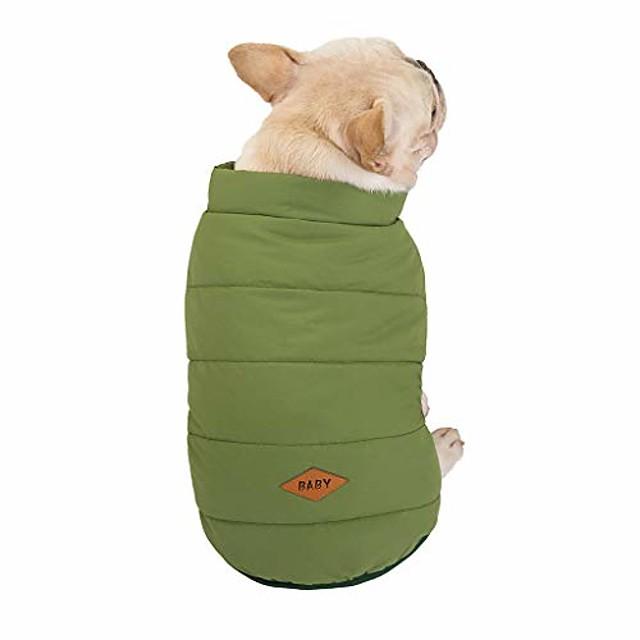 pet cat dog clothes fleece lined dog jackets for winter dog cold weather coats dog apparel pet coats warm soft windproof small dog coat pet vest costume (xxl, green)