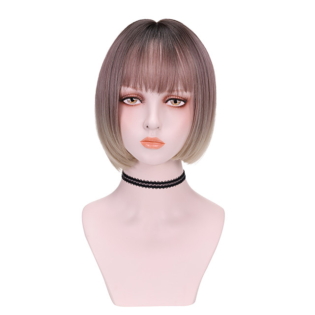 Synthetic Wig Straight With Bangs Wig Short Pink Synthetic Hair 8 inch Women's Cool Color Gradient Pink
